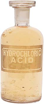 GERD diet: bottle of hydrochloric acid