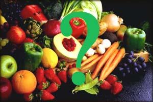 GERD diet: assortment of mixed fruits and vegetables
